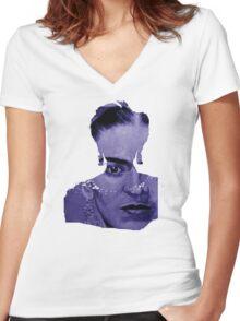 FRIDA Kahlo - between worlds - blue Women's Fitted V-Neck T-Shirt