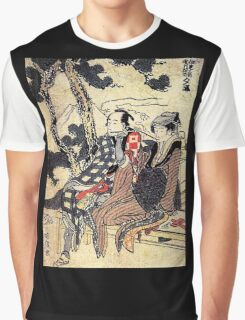 'Traveling Couple' by Katsushika Hokusai (Reproduction) Graphic T-Shirt