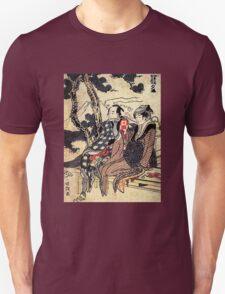 'Traveling Couple' by Katsushika Hokusai (Reproduction) T-Shirt