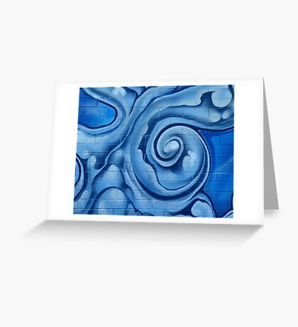 Blue Graffiti Swirls Greeting Card