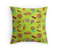 Fast Food Doodle Seamless Pattern Throw Pillow