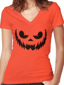 Jack-O-Lantern Women's Fitted V-Neck T-Shirt