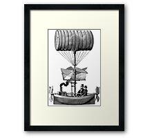 Vintage Steampunk Flying Machine Framed Print