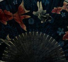Japanese Folding Fish Fan  Sticker