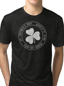 St. Patrick's Day 2016 round, white, distressed Tri-blend T-Shirt