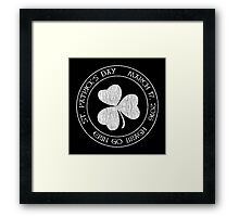 St. Patrick's Day 2016 round, white, distressed Framed Print