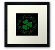 St. Patrick's Day 2016 round, green, distressed Framed Print