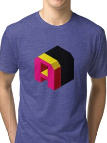 Letter A Isometric Graphic Tri-blend T-Shirt