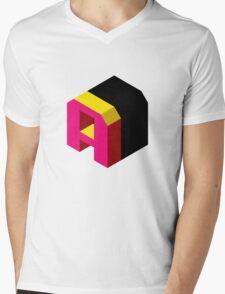 Letter A Isometric Graphic Mens V-Neck T-Shirt