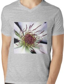 Classic White Clematis Mens V-Neck T-Shirt