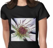 Classic White Clematis Womens Fitted T-Shirt
