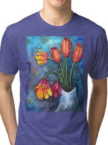 Watercolor Tulips Tri-blend T-Shirt