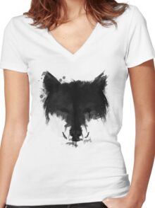 Ink Wolf Women's Fitted V-Neck T-Shirt
