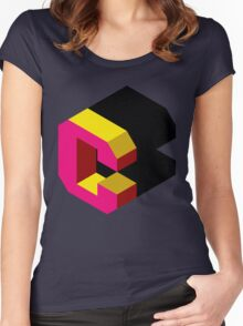 Letter C Isometric Graphic Women's Fitted Scoop T-Shirt
