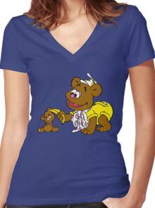 Muppet Babies - Fozzie Bear & Teddy - Banana Telephone Women's Fitted V-Neck T-Shirt