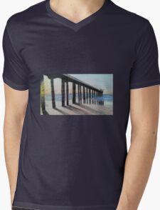 Pier Sunset Mens V-Neck T-Shirt