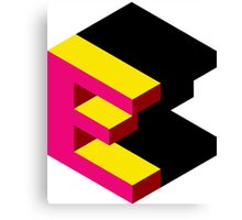 Letter E Isometric Graphic Canvas Print