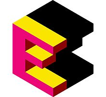 Letter E Isometric Graphic Photographic Print