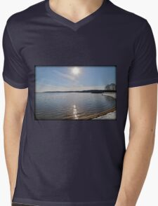Snowfall Lakeside Mens V-Neck T-Shirt