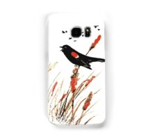 Watercolor Red Wing Blackbird Bird Nature Art Samsung Galaxy Case/Skin