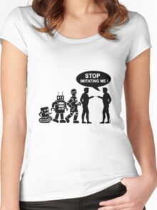Funny robot evolution Women's Fitted Scoop T-Shirt