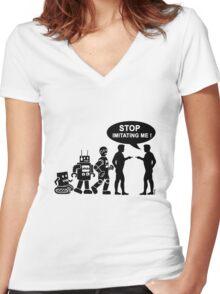 Funny robot evolution Women's Fitted V-Neck T-Shirt