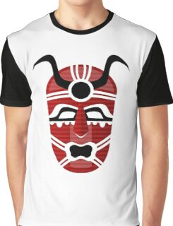 Cool Red Tribal Man Design Graphic T-Shirt