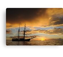Last light on tall ship Canvas Print