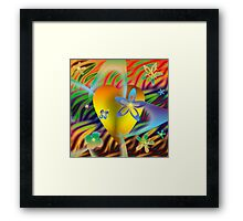 A Gold Heart with Flowers on a Rainbow Backdrop Framed Print