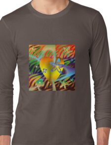 A Gold Heart with Flowers on a Rainbow Backdrop Long Sleeve T-Shirt