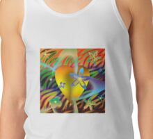 A Gold Heart with Flowers on a Rainbow Backdrop Tank Top