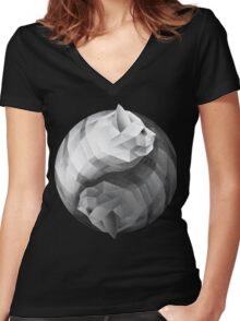 Catyang Women's Fitted V-Neck T-Shirt