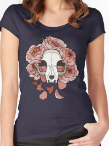 Cat and peonies- pink Women's Fitted Scoop T-Shirt