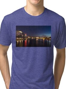 British Symbols and Landmarks - Silky River Thames at Night, Complete with the Royal Family Tri-blend T-Shirt