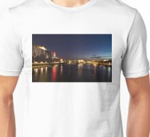British Symbols and Landmarks - Silky River Thames at Night, Complete with the Royal Family Unisex T-Shirt