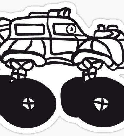 fast monster truck cool comic eyes face cartoon cars Sticker