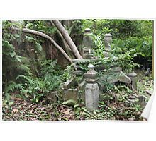 Gravestones in the Old Malay Cemetery at Kampong Glam, Singapore Poster