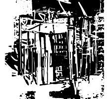 Trash City Black and White Design Photographic Print