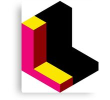 Letter L Isometric Graphic Canvas Print