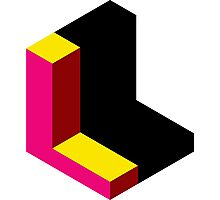 Letter L Isometric Graphic Photographic Print