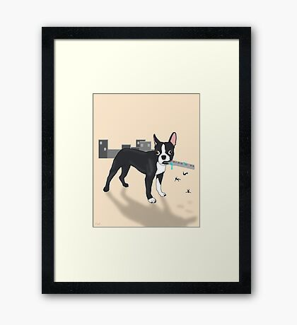 Attack of the Colossal Boston Terrier!!! Framed Print
