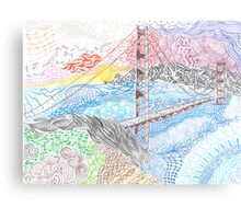 Golden Gate Bridge Zentangle Canvas Print