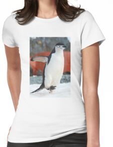 Penguin on the move Womens Fitted T-Shirt