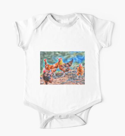 Abstract Rooster and Hens One Piece - Short Sleeve