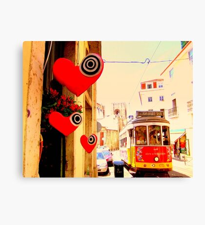 Lisbon Streetcar with hearts Canvas Print