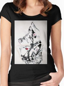 The Moving Finger - Original Wall Modern Abstract Art Painting Women's Fitted Scoop T-Shirt