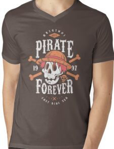 Wanted Pirate Forever Mens V-Neck T-Shirt