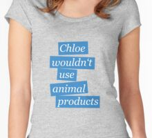 Max' bathroom comment (blue) Women's Fitted Scoop T-Shirt