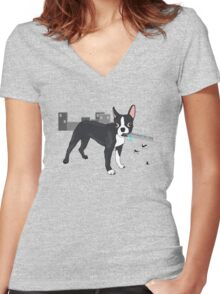 Attack of the Colossal Boston Terrier!!! Women's Fitted V-Neck T-Shirt