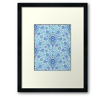 Intricate Blue Paisley Pattern Framed Print